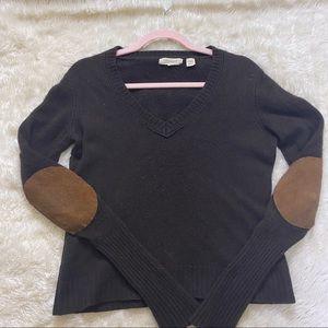 INHABIT Cashmere Elbow Suede Patch Sweater Brown